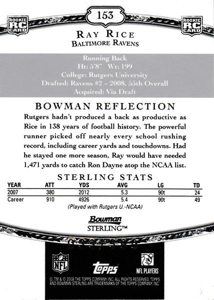 レイ・ライス 2008 Bowman Sterling Jersey Blue 033/399 Ray Rice