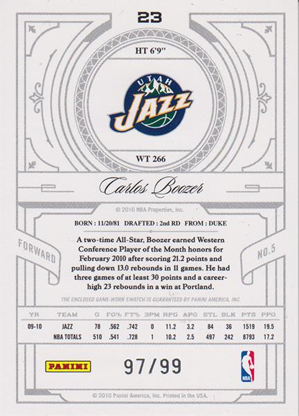 カルロス・ブーザー NBAカード 2019-10 National Treasures Century Jersey (97/99) / Carlos Boozer