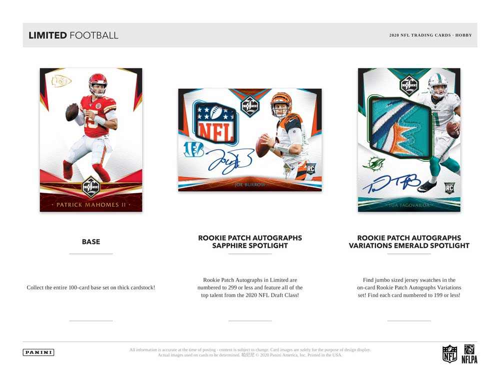 NFL 2020 Panini Limited Football 2/19入荷!