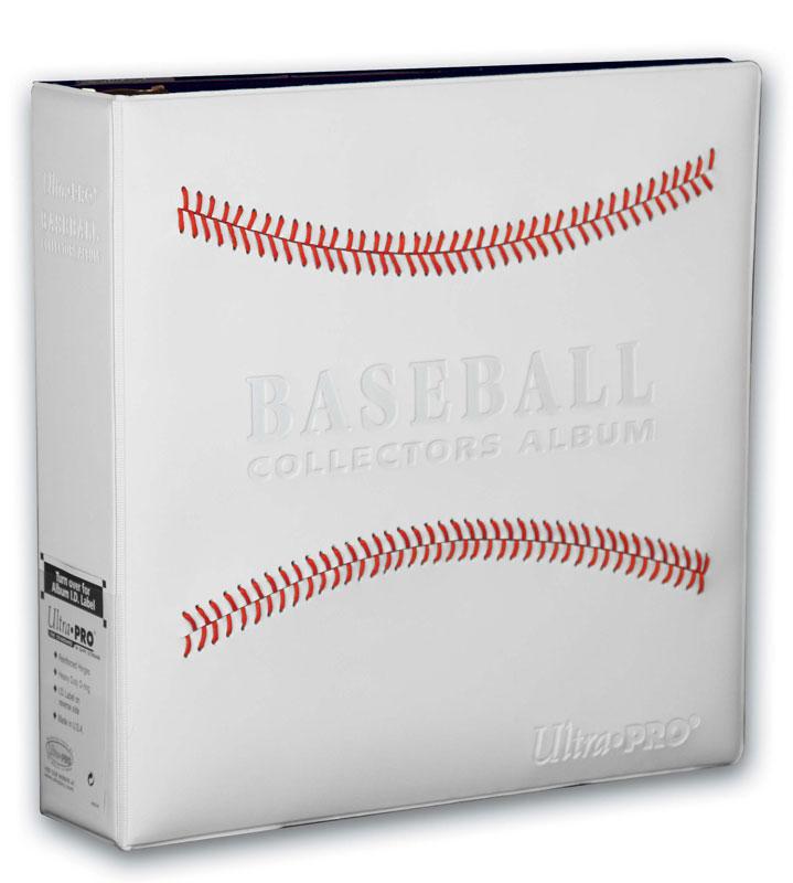 "Ultra Pro (ウルトラプロ) ベースボールアルバム レッドステッチ ホワイト 3リング (#82020) | 3"" White Stitched Baseball Card Collectors Album"