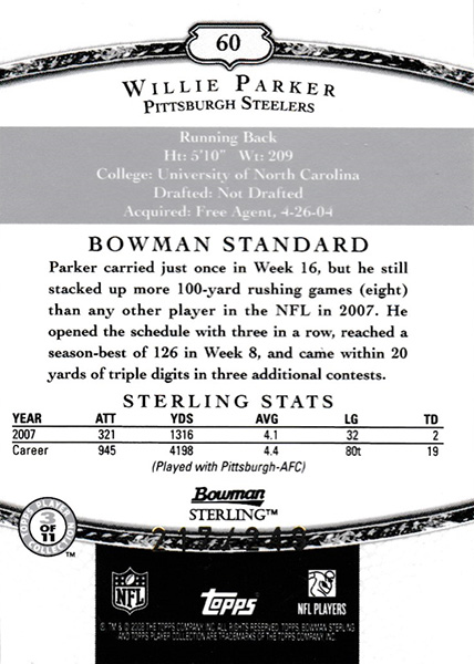 ウィリー・パーカー 2008 Bowman Sterling Jersey Green 217/249 Willie Parker