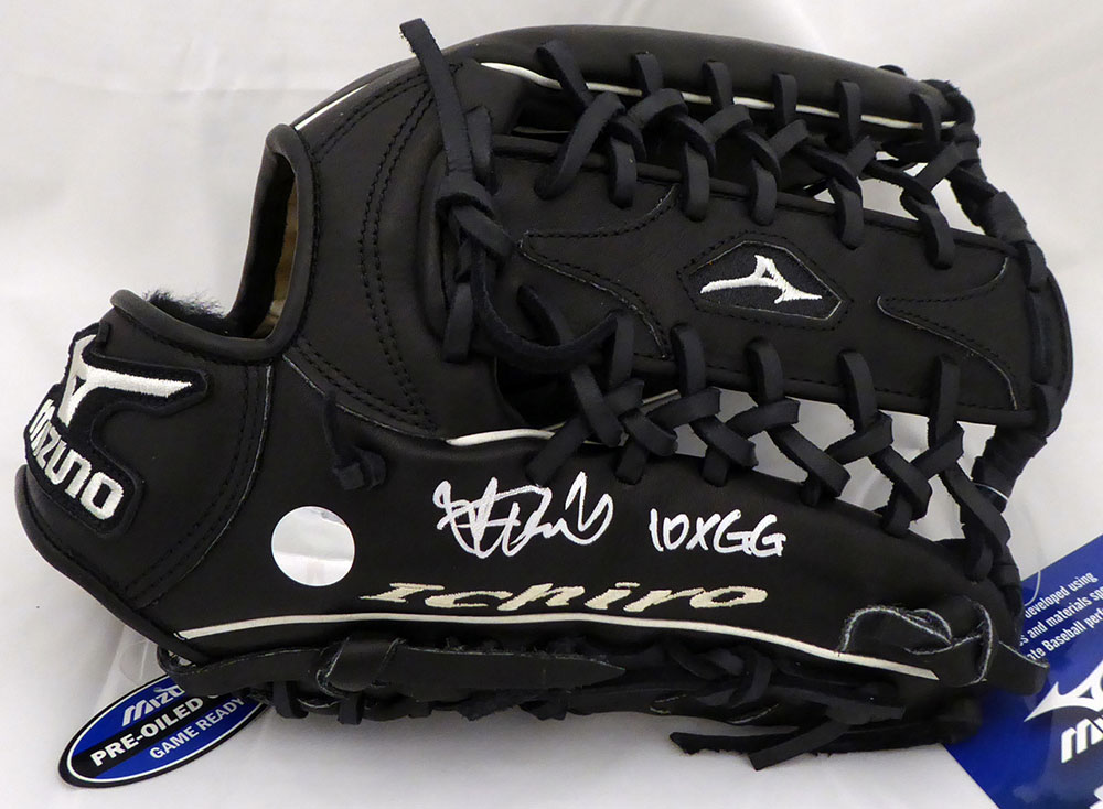 "イチロー 直筆サイン入りグローブ ""10X GG""入り (Ichiro Suzuki Autographed Mizuno Game Model Fielding Glove ""10X GG"" Seattle Mariners IS Holo Stock)"