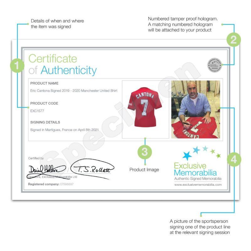 エリック・カントナ 直筆サイン入りユニフォーム 2019-20 マンチェスター・ユナイテッド ホーム バックサイン ホワイトギフトボックス入り (Eric Cantona Signed Manchester United 2019-20 Shirt. Gift Box)