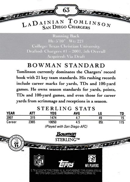 ラダニアン・トムリンソン 2008 Bowman Sterling Jersey Green 060/249 LaDainian Tomlinson