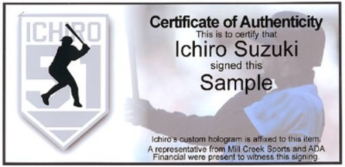 """イチロー 直筆サイン入りバット""""#51 & 01 MVP/ROY""""入り  (Ichiro Suzuki Autographed Mizuno Game Model Bat """"#51 & 01 MVP/ROY"""" Seattle Mariners IS Holo Stock) 12/22入荷"""