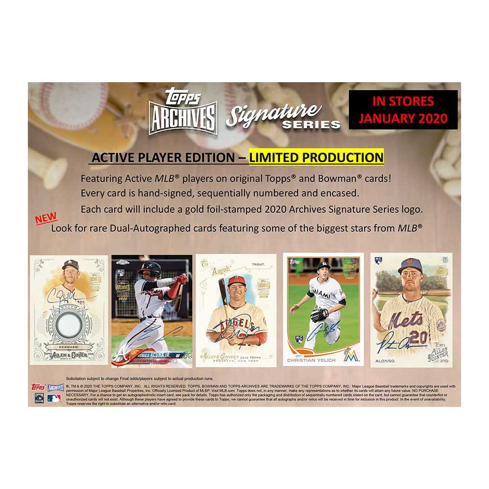 MLB 2020 Topps Archives Signature Series Baseball Active Player Edition 1/29入荷