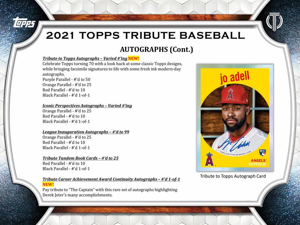 MLB 2021 Topps Tribute Baseball Cards 2021年、4/7入荷!
