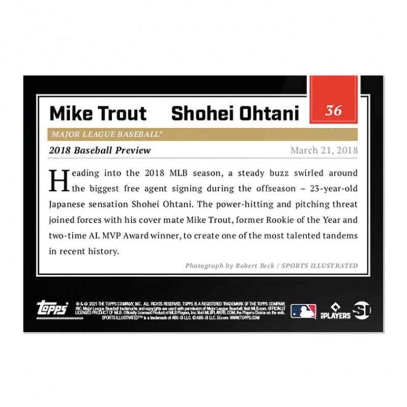 マイク・トラウト&大谷翔平 #36 Topps スポーツイラストレイテッド カード 2021 Topps x Sports Illustrated - Mike Trout & Shohei Ohtani - Card #36 7/31入荷