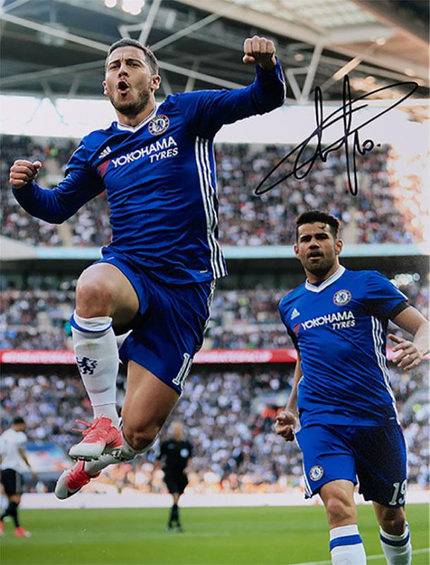 エデン・アザール チェルシー ゴール vs トッテナム・ホットスパーFC 直筆サインフォト Eden Hazard Signed Chelsea Photo: Goal vs Tottenham Hotspur 8/16再入荷