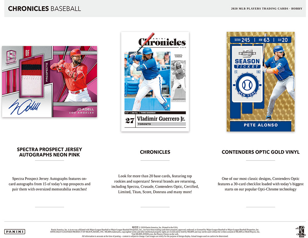 2020 Panini Chronicles Baseball 9/25入荷!