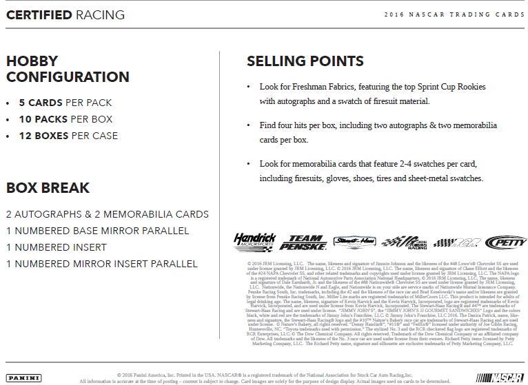 レーシングカード 2016 Panini Certified Racing 12/21入荷!