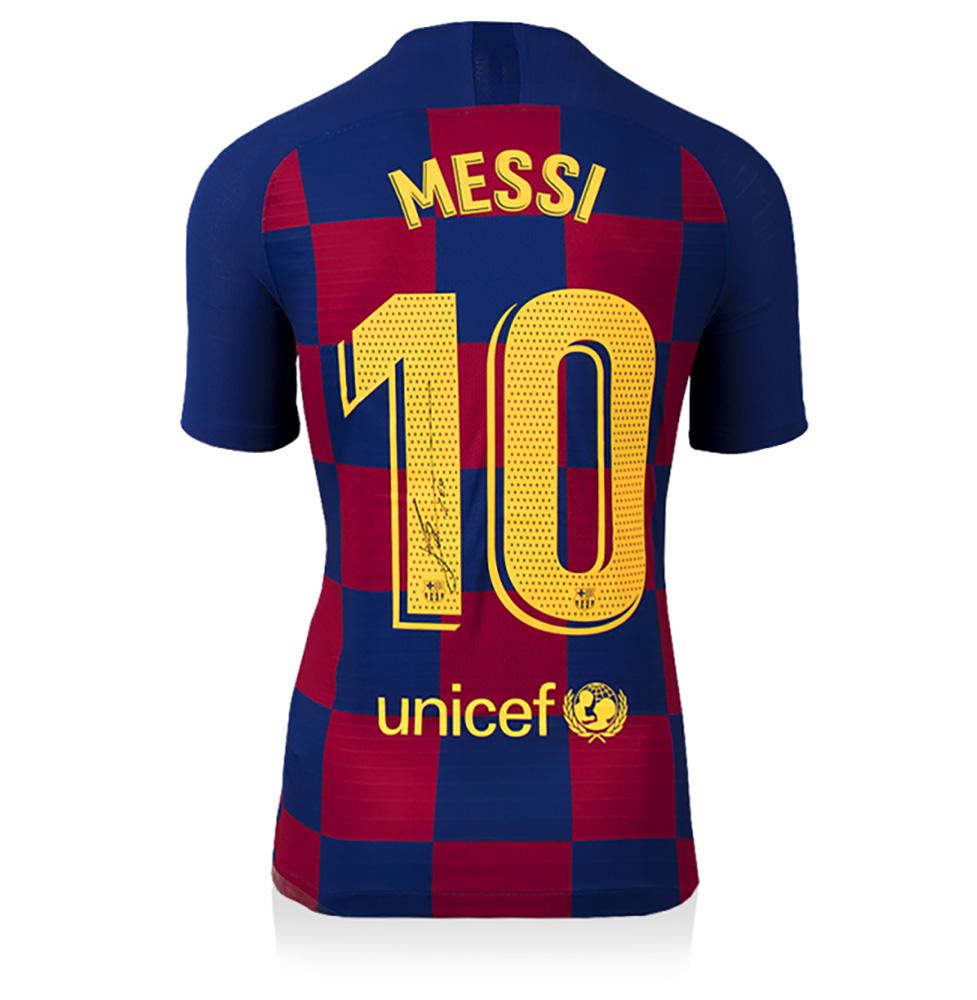 リオネル・メッシ 直筆サイン入りマッチイシュー (試合着用仕様) ユニフォーム 2019-20 FC バルセロナ バックサイン (Match Issue Lionel Messi Official Back Signed FC Barcelona 2019-20 Home Shirt) 送料700円