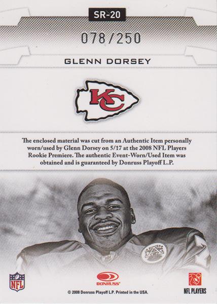 グレン・ドーシー 2008 Leaf Rookies & Stars Studio Rookies Materials 078/250 Glenn Dorsey