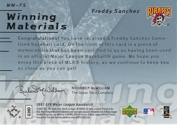 フレディ・サンチェス 2007 SPx Winning Materials 005/175 Freddy Sanchez