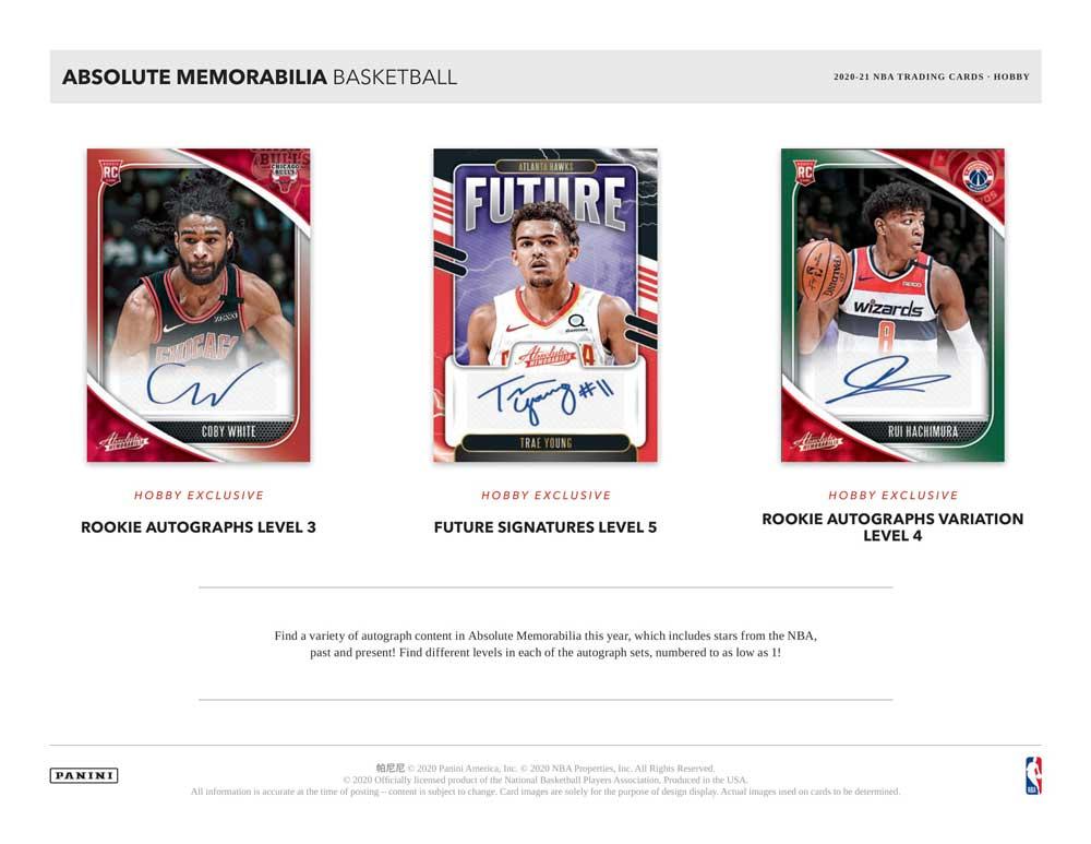 NBA 2020-21 Panini Absolute Memorabilia Basketball 3/24入荷