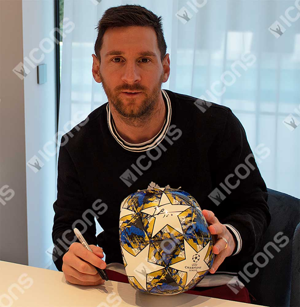 リオネル・メッシ 直筆サイン入りサッカーボール (Lionel Messi Official Signed 2019-20 UEFA Champions League Football)