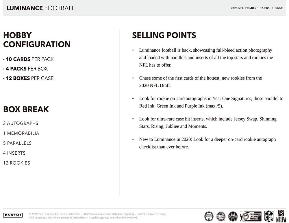 NFL 2020 Panini Luminance Football 7/15入荷