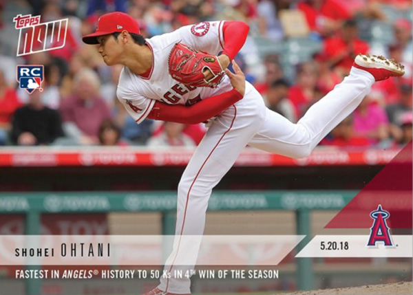大谷翔平 #234 エンゼルス史上最速50奪三振記念 カード Fastest in Angels History to 50 Ks in 4th Win of the Season - Shohei Ohtani MLB Topps Now Card  6/4入荷!