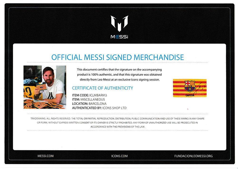 リオネル・メッシ 直筆サイン入りFC バルセロナキャプテンアームバンド (Lionel Messi Official Signed FC Barcelona Branded Captain's Armband)