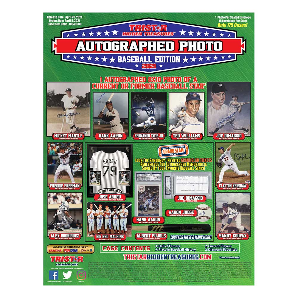 2021 TRISTAR Hidden Treasures Autographed Photos Baseball Edition ボックス(Box) 5/6入荷!