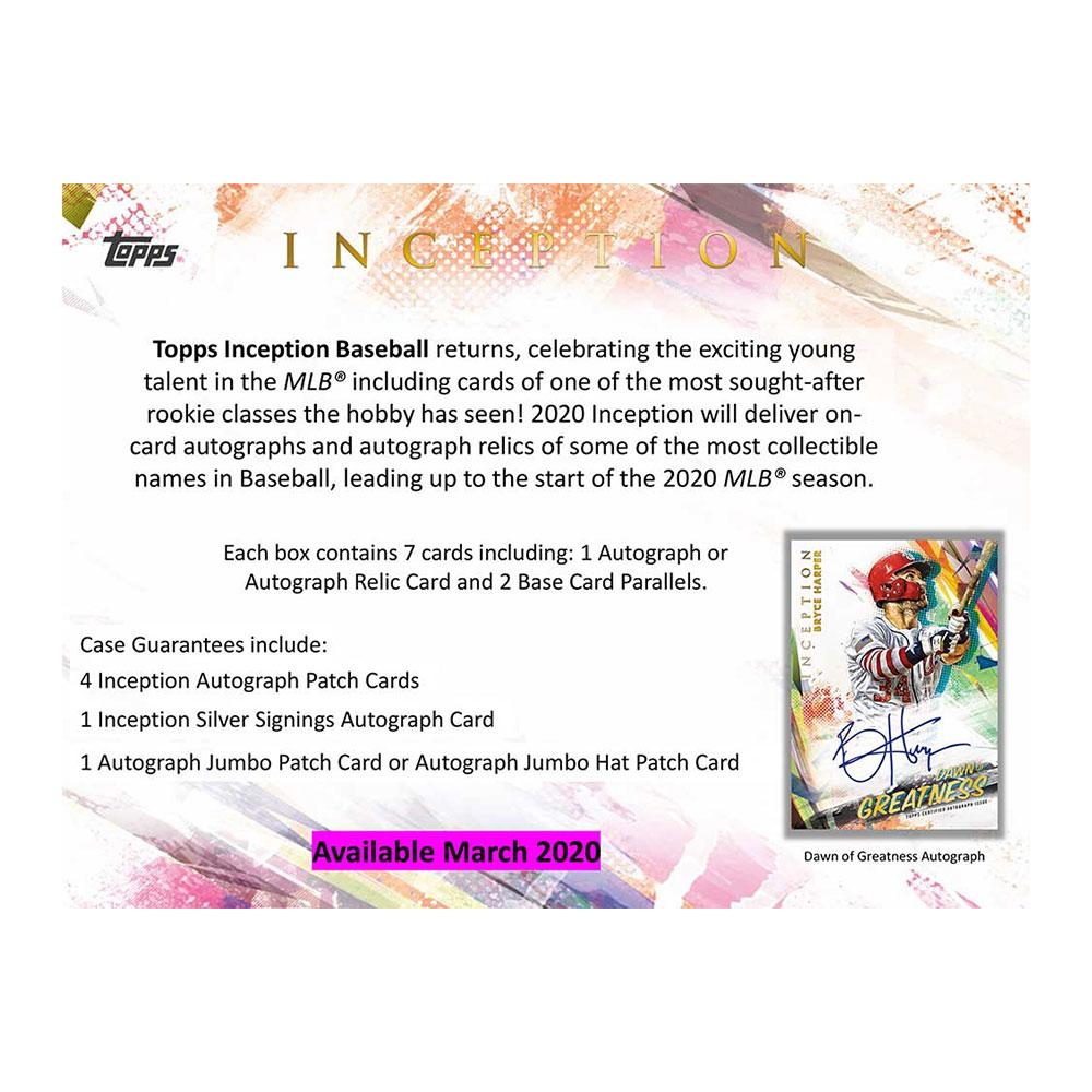 MLB 2020 Topps Inception Baseball 3/20入荷
