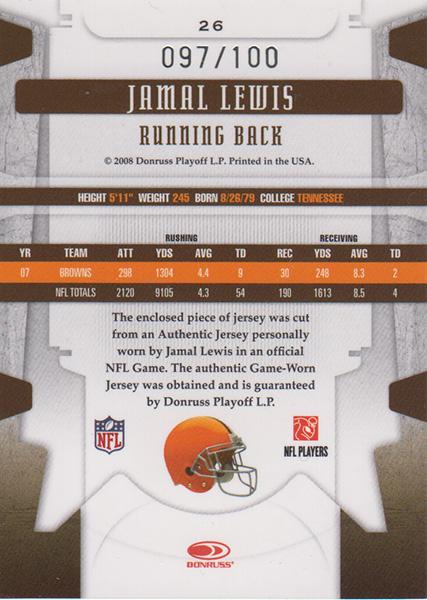 ジャマール・ルイス 2008 Leaf Limited Jersey 097/100 Jamal Lewis