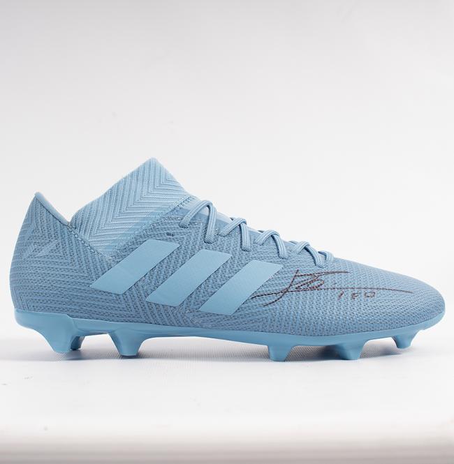 リオネル・メッシ 直筆サイン入りスパイク Lionel Messi Official Signed Blue Adidas Nemeziz Messi 18.1 Boot