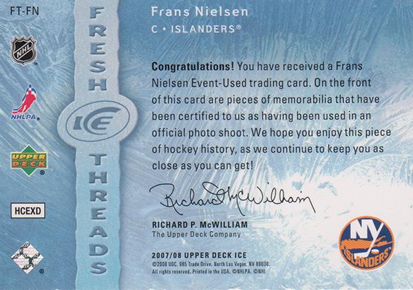 フランス・ニールセン 2007-08 UD Ice Fresh Threads Dual Jersey / Frans Nielsen