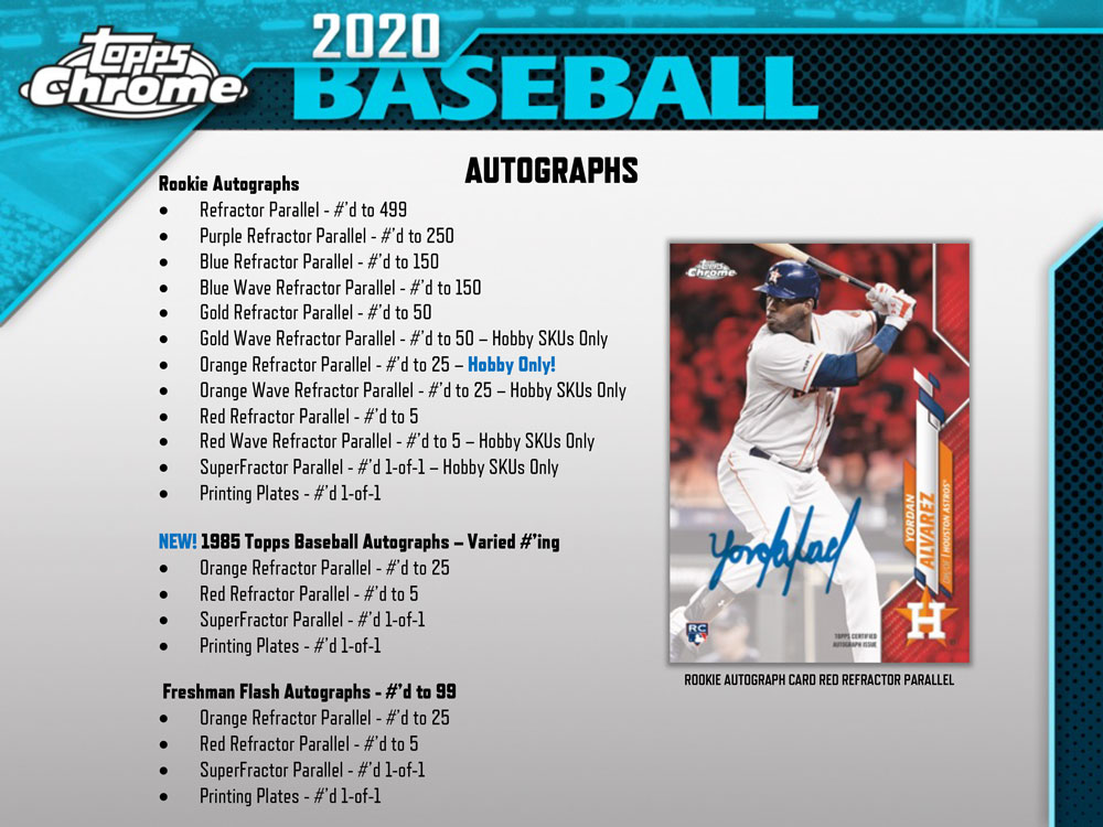 MLB 2020 Topps Chrome Baseball Hobby 8/7入荷