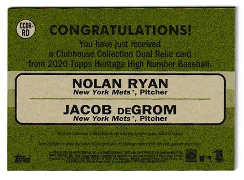 ノーラン・ライアン/ジェイコブ・デグロム MLBカード 2020 Topps Heritage High Number Clubhouse Collection Dual Relics 43/70 / Nolan Ryan & Jacob deGrom