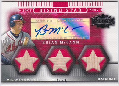 ブライアン・マッキャン 2007 Topps Triple Threads Rising Star Relics Auto 34/99 Brian McCann