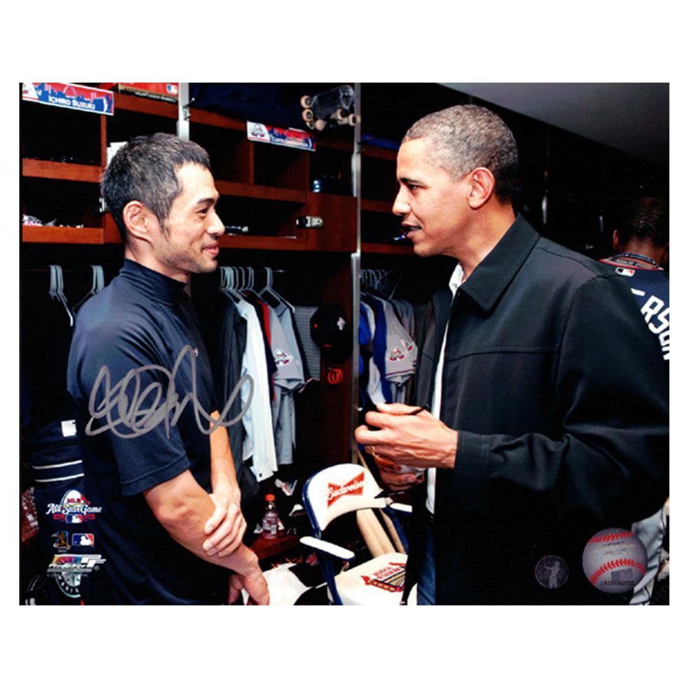 イチロー 2009 オールスターゲーム ロッカールーム w/オバマ大統領 直筆サインフォト 16x20 (Ichiro Suzuki Autographed 16x20 Photo Seattle Mariners With Obama IS Holo Stock)