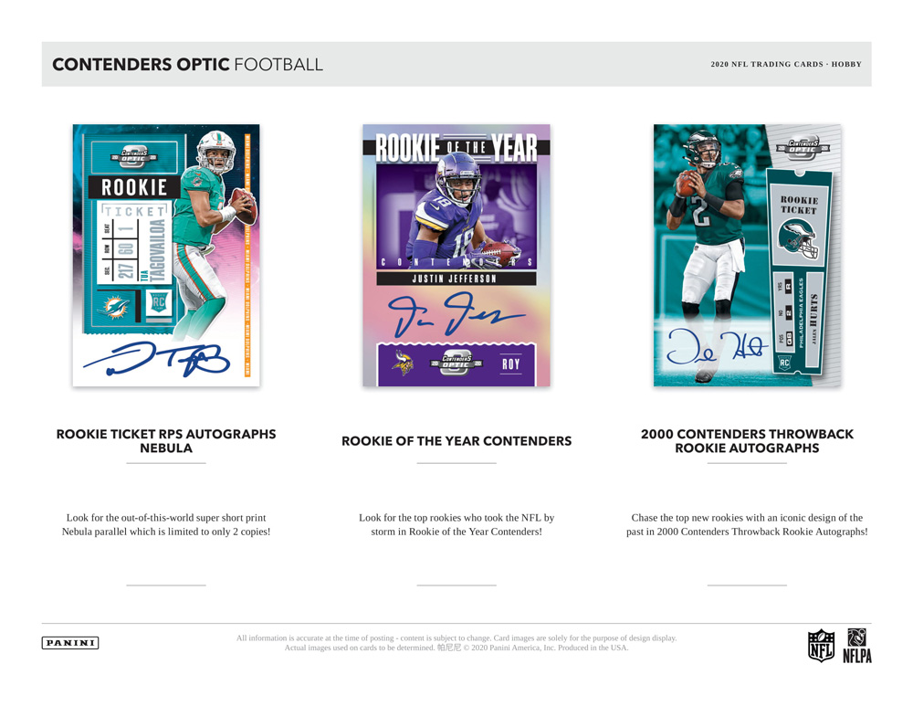 NFL 2020 Panini Contenders Optic Football 4/14入荷