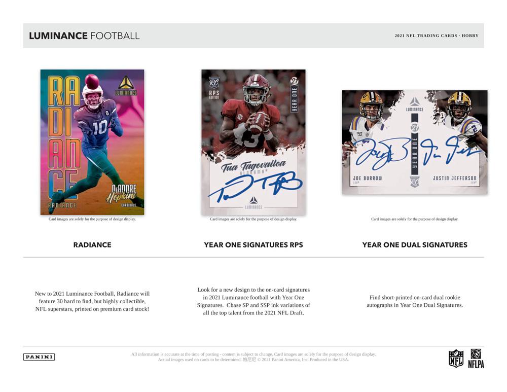 NFL 2021 Panini Luminance Football 7/9入荷
