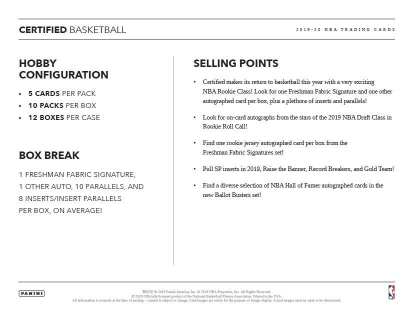 NBA 2019-20 Panini Certified Basketball