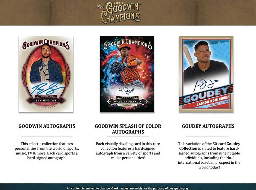 2020 UD Goodwin Champions  店頭販売中、価格はASK、7/23入荷