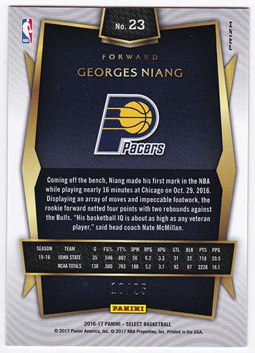ジョージス・ニアング NBA 2016-17 Panini Select Tie-Dye Prizm #235 10/25 Georges Niang