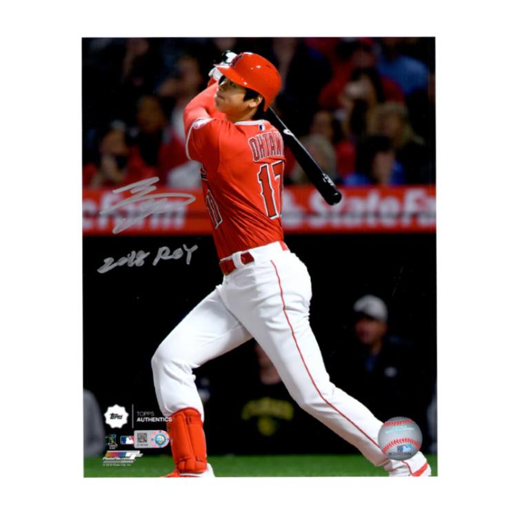 大谷翔平 直筆サイン入り 8x10フォト (1st MLB HR Photo) 2018 ROY入り エンゼルス / Shohei Ohtani Autographed 8x10 Photo Swinging 2