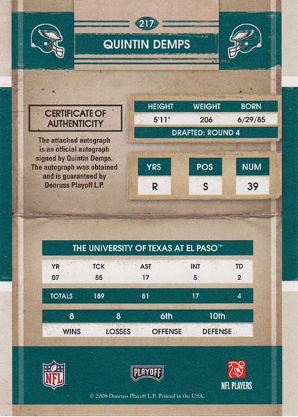 クインティン・デンプス 2008 Playoff Contenders Rookie Ticket / Quintin Demps
