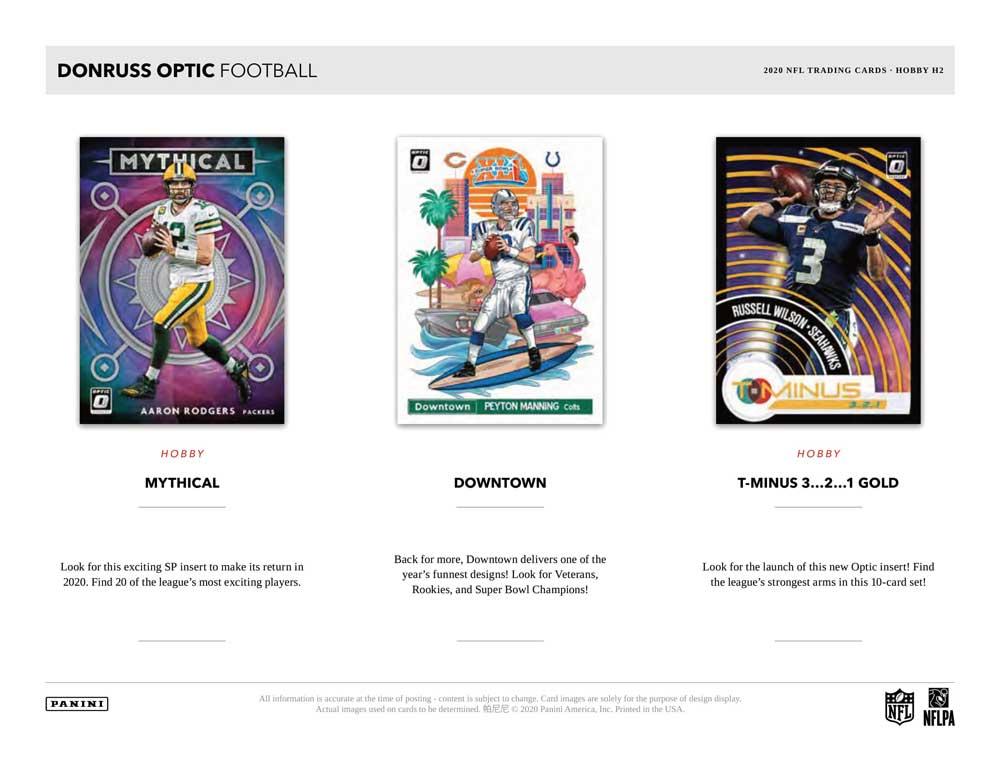 NFL 2020 Panini Donruss Optic Football Hobby H2版 2/10入荷