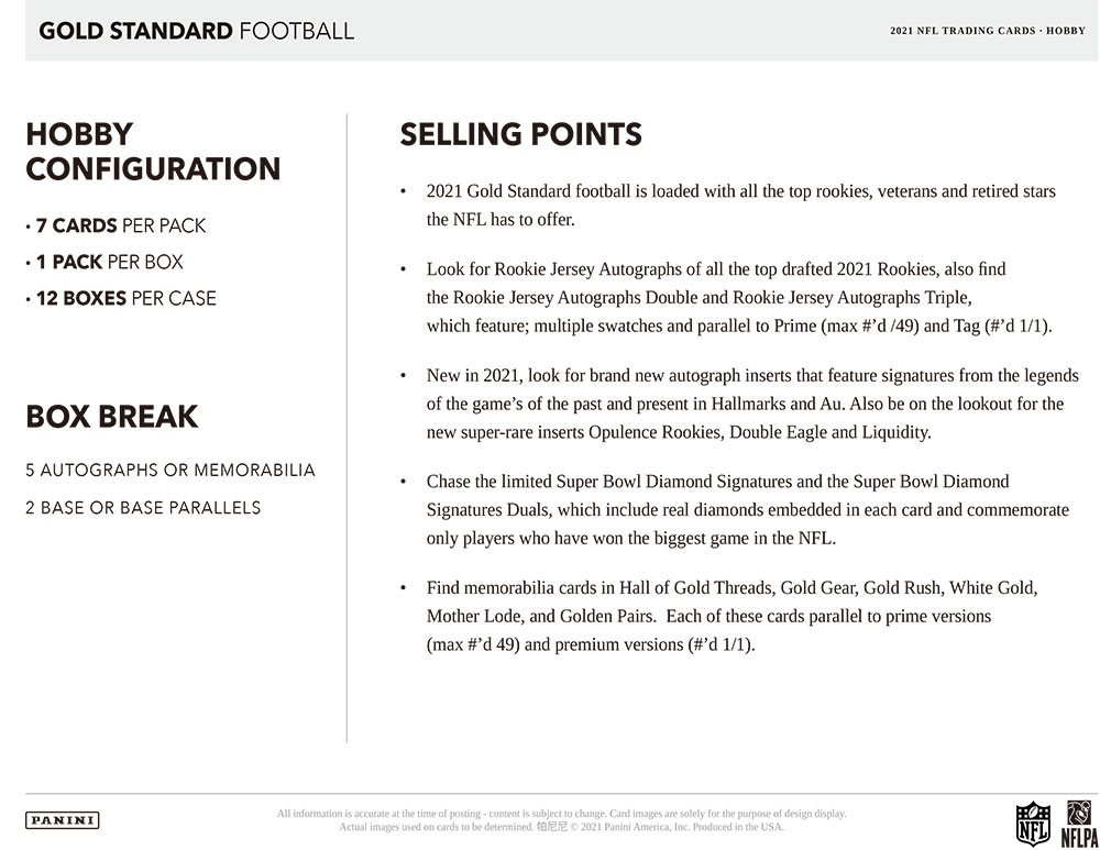 NFL 2021 Panini Gold Standard Football 8/4入荷