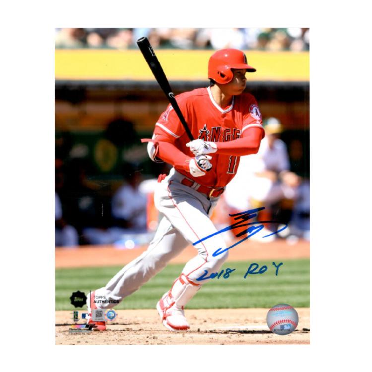 大谷翔平 直筆サイン入り 8x10フォト (1st MLB Hit Photo) 2018 ROY入り エンゼルス / Shohei Ohtani Autographed 8x10 Photo Swinging 1