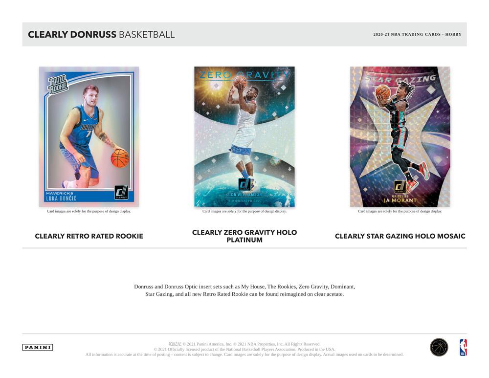 NBA 2020-21 Panini Clearly Donruss Basketball 7/23入荷