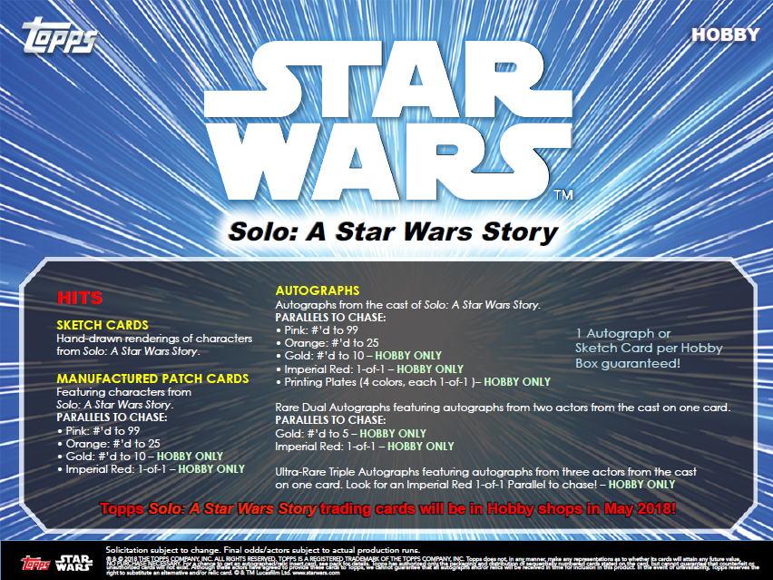 ハン・ソロ/スター・ウォーズ・ストーリー 2018 Topps Solo : A Star Wars Story トレーディングカード 5/25入荷!