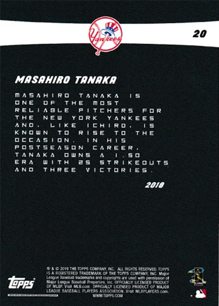 田中将大 Ichiro 2019 Topps On Demand Set #4-20 Masahiro Tanaka