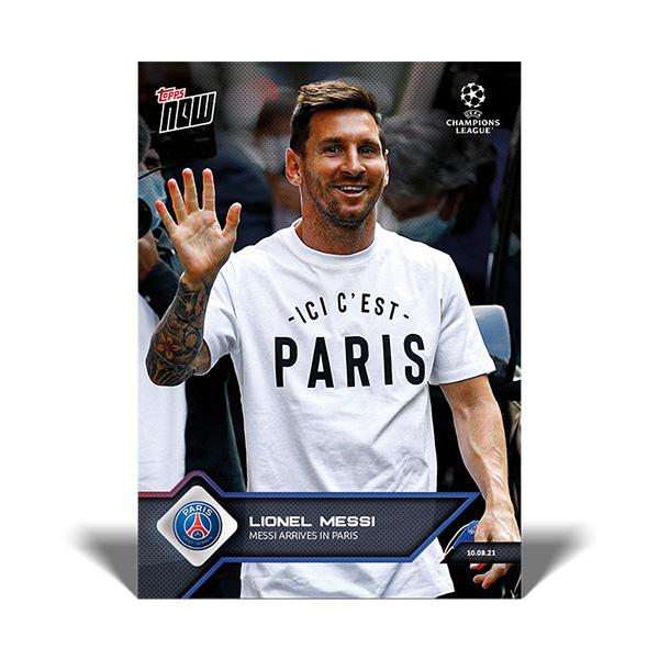 リオネル・メッシ #011 リオネル・メッシ選手がパリに到着した際の記念カード Messi Arrives in Paris Lionel Messi   2021 Topps Now Card 10/13入荷