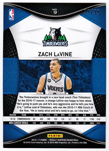 ザック・ラヴィーン NBA 2016-17 Panini Totally Certified Base Card Blue #9 99/99 Zach LaVine