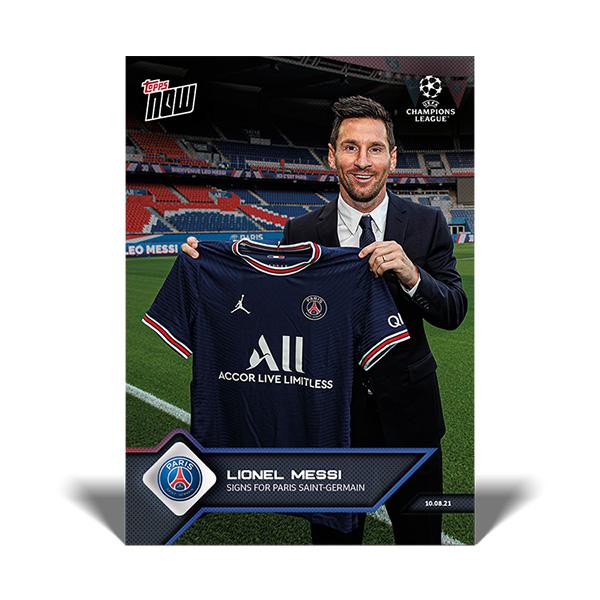 リオネル・メッシ #012 リオネル・メッシ選手がパリ・サンジェルマンと契約した記念カード  Signs for Paris Saint-Germain Lionel Messi   2021 Topps Now Card 10/13入荷