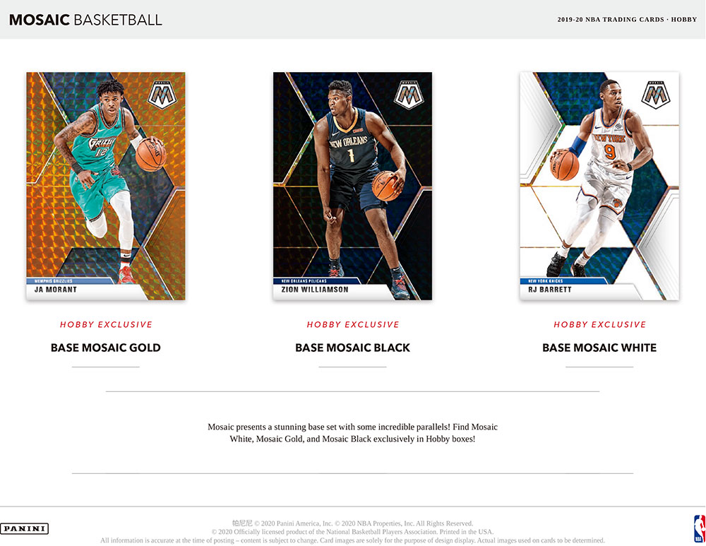NBA 2019-20 Panini Mosaic Basketball Hobby 5/22入荷