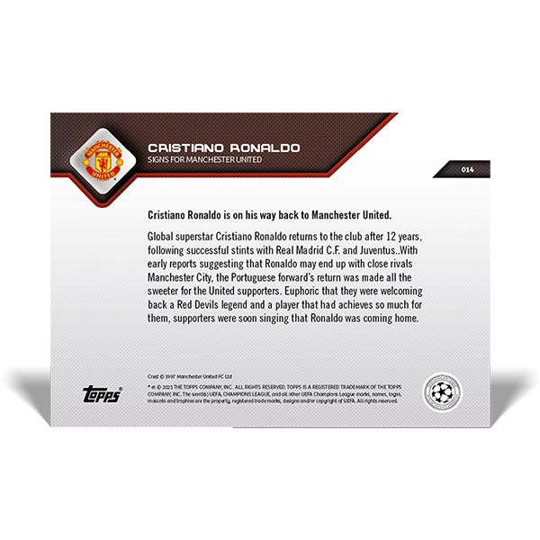 クリスティアーノ・ロナウド #014 クリスティアーノ・ロナウド選手がマンチェスター・ユナイテッドと契約した記念カード Signs for Manchester United Cristiano Ronaldo 2021 Topps Now Card 10/13入荷